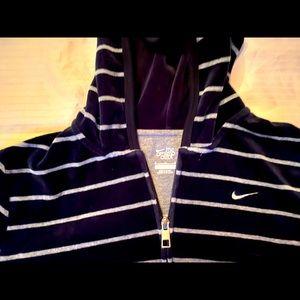 Nike black velour full-zip hoodie